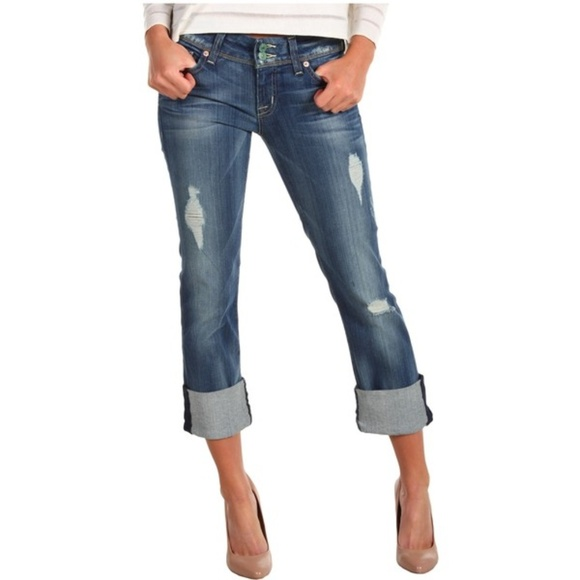 1b2202a87c3 Hudson Jeans Denim - Hudson Ginny Crop Straight w/ Cuff Distressed Jean